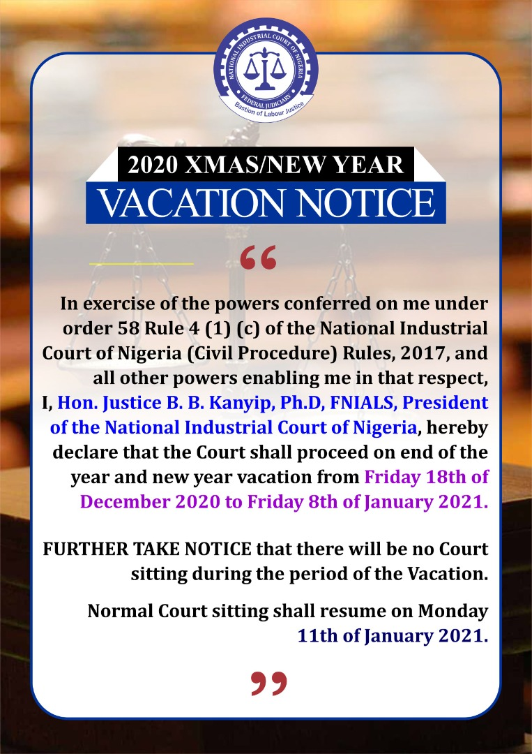 2020 Christmas/New Year Vacation Notice