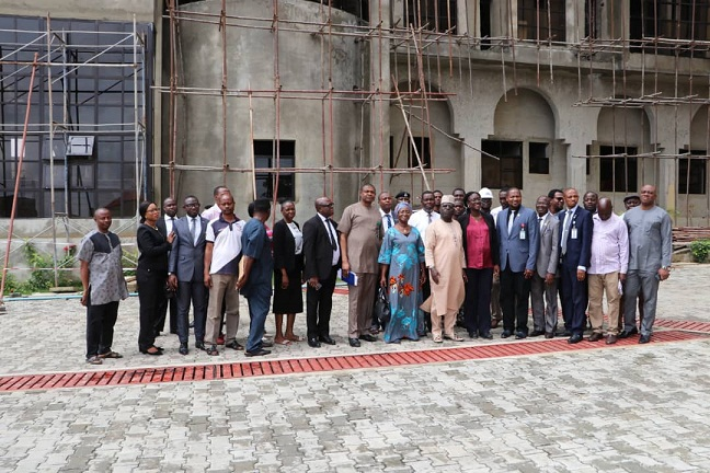 Visit of the members of the Federal Judiciary | Due Process Committee on the 8th of August,  2019 to the NICN permanent site. No.11 New Bussa Close Area3 Garki, Abuja.
